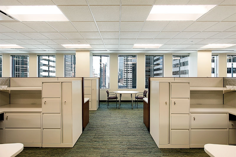 Cubicles in downtown office building